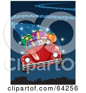 Royalty Free RF Clipart Illustration Of Santa Flying His Red Convertible Vw Bug Through The Blue Christmas Night Sky by David Rey