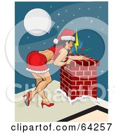 Sexy Christmas Pinup Woman In A Santa Suit Dress Peeking Down A Chimney