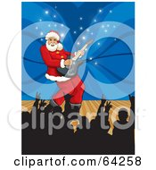 Santa Playing A Guitar On A Stage With Silhouetted Fans Holding Up Their Hands