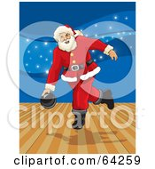 Royalty Free RF Clipart Illustration Of Santa Bowling In An Alley With Blue Sparkles In The Background