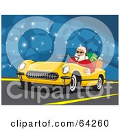 Royalty Free RF Clipart Illustration Of Santa Driving His Convertible Yellow Car With Christmas Presents In The Back by David Rey