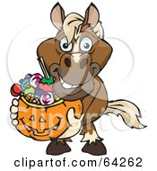 Royalty Free RF Clipart Illustration Of A Trick Or Treating Horse Holding A Pumpkin Basket Full Of Halloween Candy