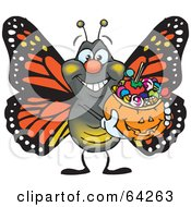 Royalty Free RF Clipart Illustration Of A Trick Or Treating Monarch Butterfly Holding A Pumpkin Basket Full Of Halloween Candy