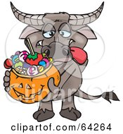 Royalty Free RF Clipart Illustration Of A Trick Or Treating Buffalo Holding A Pumpkin Basket Full Of Halloween Candy