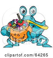 Royalty Free RF Clipart Illustration Of A Trick Or Treating Blue Crab Holding A Pumpkin Basket Full Of Halloween Candy by Dennis Holmes Designs