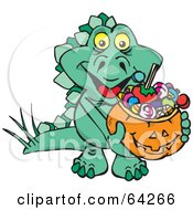Royalty Free RF Clipart Illustration Of A Trick Or Treating Stegosaur Holding A Pumpkin Basket Full Of Halloween Candy