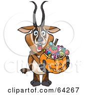 Royalty Free RF Clipart Illustration Of A Trick Or Treating Gazelle Holding A Pumpkin Basket Full Of Halloween Candy