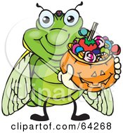 Royalty Free RF Clipart Illustration Of A Trick Or Treating Cicada Holding A Pumpkin Basket Full Of Halloween Candy