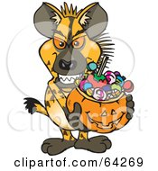 Royalty Free RF Clipart Illustration Of A Trick Or Treating Hyena Holding A Pumpkin Basket Full Of Halloween Candy