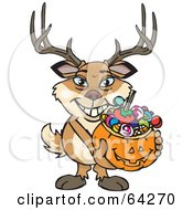 Royalty Free RF Clipart Illustration Of A Trick Or Treating Buck Holding A Pumpkin Basket Full Of Halloween Candy