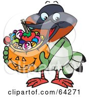 Royalty Free RF Clipart Illustration Of A Trick Or Treating Hummingbird Holding A Pumpkin Basket Full Of Halloween Candy