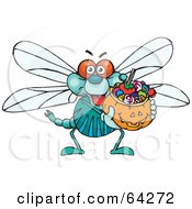 Royalty Free RF Clipart Illustration Of A Trick Or Treating Dragonfly Holding A Pumpkin Basket Full Of Halloween Candy