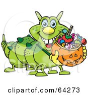 Royalty Free RF Clipart Illustration Of A Trick Or Treating Caterpillar Holding A Pumpkin Basket Full Of Halloween Candy