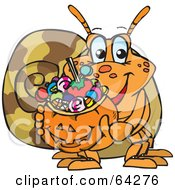 Royalty Free RF Clipart Illustration Of A Trick Or Treating Hermit Crab Holding A Pumpkin Basket Full Of Halloween Candy