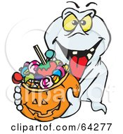 Royalty Free RF Clipart Illustration Of A Trick Or Treating Ghost Holding A Pumpkin Basket Full Of Halloween Candy