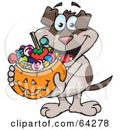 Royalty Free RF Clipart Illustration Of A Trick Or Treating Dog Holding A Pumpkin Basket Full Of Halloween Candy
