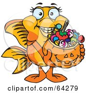 Royalty Free RF Clipart Illustration Of A Trick Or Treating Goldfish Holding A Pumpkin Basket Full Of Halloween Candy