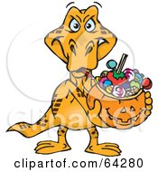 Royalty Free RF Clipart Illustration Of A Trick Or Treating Goanna Holding A Pumpkin Basket Full Of Halloween Candy