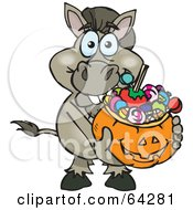 Royalty Free RF Clipart Illustration Of A Trick Or Treating Donkey Holding A Pumpkin Basket Full Of Halloween Candy