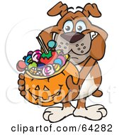 Royalty Free RF Clipart Illustration Of A Trick Or Treating Bulldog Holding A Pumpkin Basket Full Of Halloween Candy