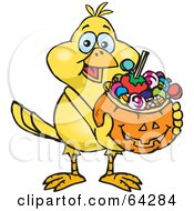 Royalty Free RF Clipart Illustration Of A Trick Or Treating Canary Holding A Pumpkin Basket Full Of Halloween Candy by Dennis Holmes Designs