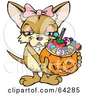 Royalty Free RF Clipart Illustration Of A Trick Or Treating Chihuahua Holding A Pumpkin Basket Full Of Halloween Candy