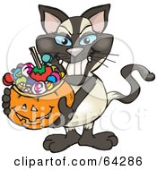 Royalty Free RF Clipart Illustration Of A Trick Or Treating Siamese Cat Holding A Pumpkin Basket Full Of Halloween Candy