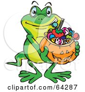 Royalty Free RF Clipart Illustration Of A Trick Or Treating Gecko Holding A Pumpkin Basket Full Of Halloween Candy