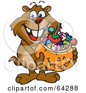 Royalty Free RF Clipart Illustration Of A Trick Or Treating Gopher Holding A Pumpkin Basket Full Of Halloween Candy