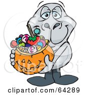 Royalty Free RF Clipart Illustration Of A Trick Or Treating Dugong Holding A Pumpkin Basket Full Of Halloween Candy