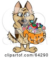 Royalty Free RF Clipart Illustration Of A Trick Or Treating German Shepherd Holding A Pumpkin Basket Full Of Halloween Candy