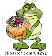 Royalty Free RF Clipart Illustration Of A Trick Or Treating Bullfrog Holding A Pumpkin Basket Full Of Halloween Candy