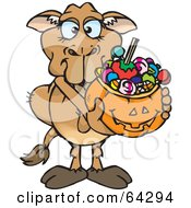 Royalty Free RF Clipart Illustration Of A Trick Or Treating Camel Holding A Pumpkin Basket Full Of Halloween Candy