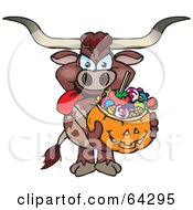 Royalty Free RF Clipart Illustration Of A Trick Or Treating Long Horn Bull Holding A Pumpkin Basket Full Of Halloween Candy
