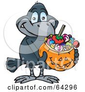 Royalty Free RF Clipart Illustration Of A Trick Or Treating Crow Holding A Pumpkin Basket Full Of Halloween Candy
