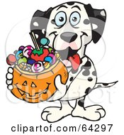 Royalty Free RF Clipart Illustration Of A Trick Or Treating Dalmatian Holding A Pumpkin Basket Full Of Halloween Candy by Dennis Holmes Designs