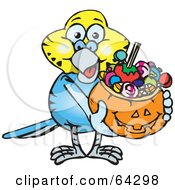 Royalty Free RF Clipart Illustration Of A Trick Or Treating Budgie Holding A Pumpkin Basket Full Of Halloween Candy
