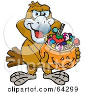 Royalty Free RF Clipart Illustration Of A Trick Or Treating Eagle Holding A Pumpkin Basket Full Of Halloween Candy
