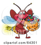 Royalty Free RF Clipart Illustration Of A Trick Or Treating Firefly Holding A Pumpkin Basket Full Of Halloween Candy by Dennis Holmes Designs
