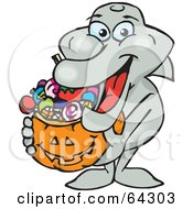 Royalty Free RF Clipart Illustration Of A Trick Or Treating Dolphin Holding A Pumpkin Basket Full Of Halloween Candy