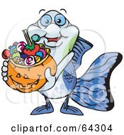 Royalty Free RF Clipart Illustration Of A Trick Or Treating Guppy Holding A Pumpkin Basket Full Of Halloween Candy by Dennis Holmes Designs