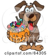 Royalty Free RF Clipart Illustration Of A Trick Or Treating Wiener Dog Holding A Pumpkin Basket Full Of Halloween Candy