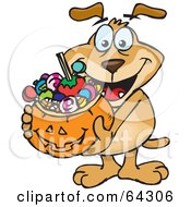 Trick Or Treating Sparkey Dog Holding A Pumpkin Basket Full Of Halloween Candy