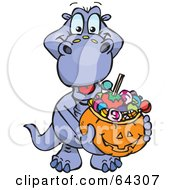 Royalty Free RF Clipart Illustration Of A Trick Or Treating Dino Holding A Pumpkin Basket Full Of Halloween Candy