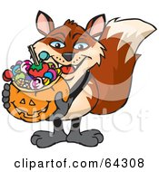 Royalty Free RF Clipart Illustration Of A Trick Or Treating Fox Holding A Pumpkin Basket Full Of Halloween Candy