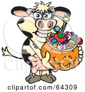 Royalty Free RF Clipart Illustration Of A Trick Or Treating Cow Holding A Pumpkin Basket Full Of Halloween Candy