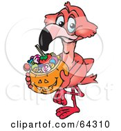 Royalty Free RF Clipart Illustration Of A Trick Or Treating Flamingo Holding A Pumpkin Basket Full Of Halloween Candy