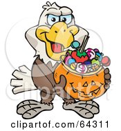 Royalty Free RF Clipart Illustration Of A Trick Or Treating Bald Eagle Holding A Pumpkin Basket Full Of Halloween Candy