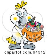 Royalty Free RF Clipart Illustration Of A Trick Or Treating Cockatoo Holding A Pumpkin Basket Full Of Halloween Candy by Dennis Holmes Designs