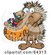 Royalty Free RF Clipart Illustration Of A Trick Or Treating Echidna Holding A Pumpkin Basket Full Of Halloween Candy